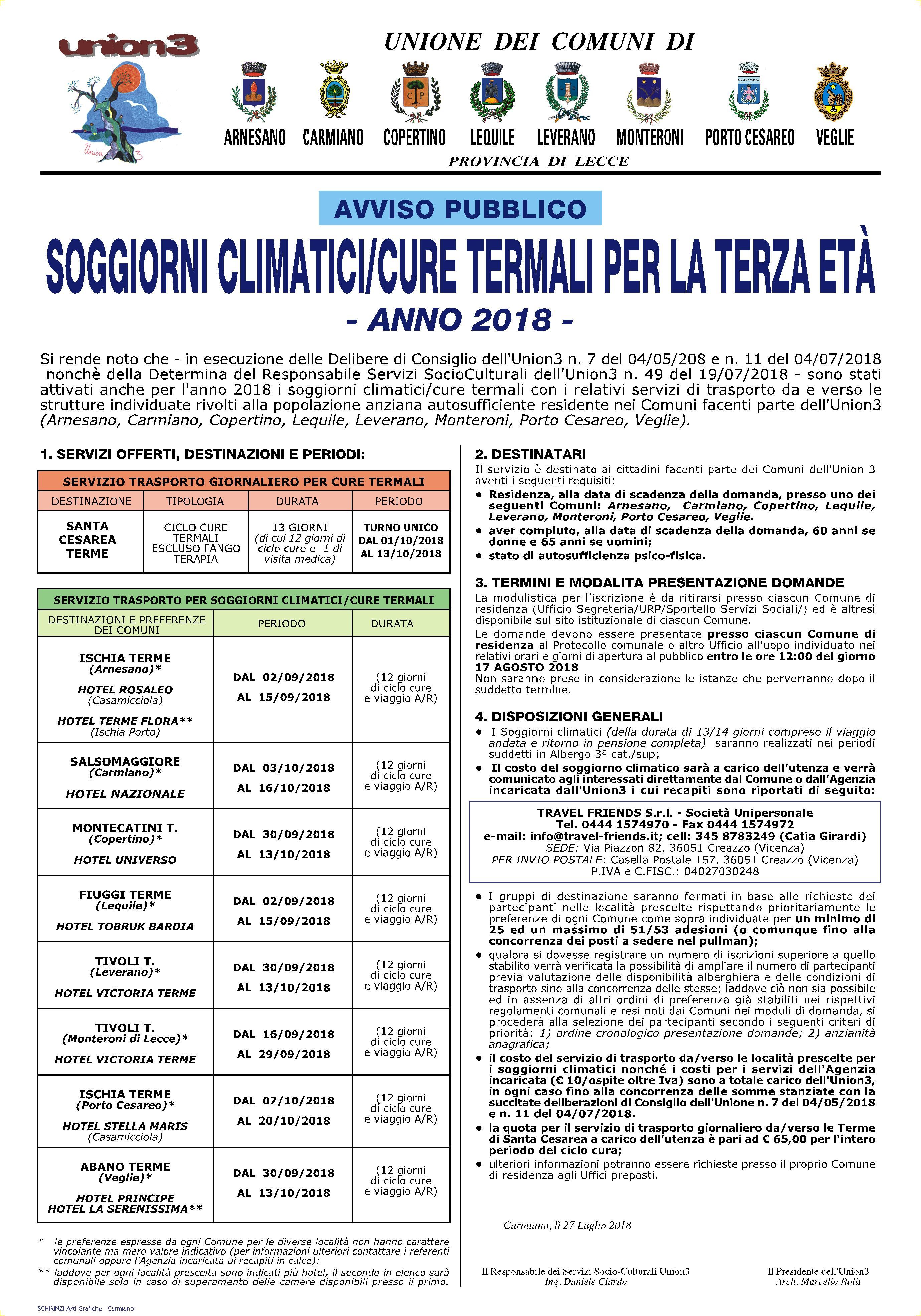 Comune di Leverano - Soggiorni climatici/cure termali per la terza età